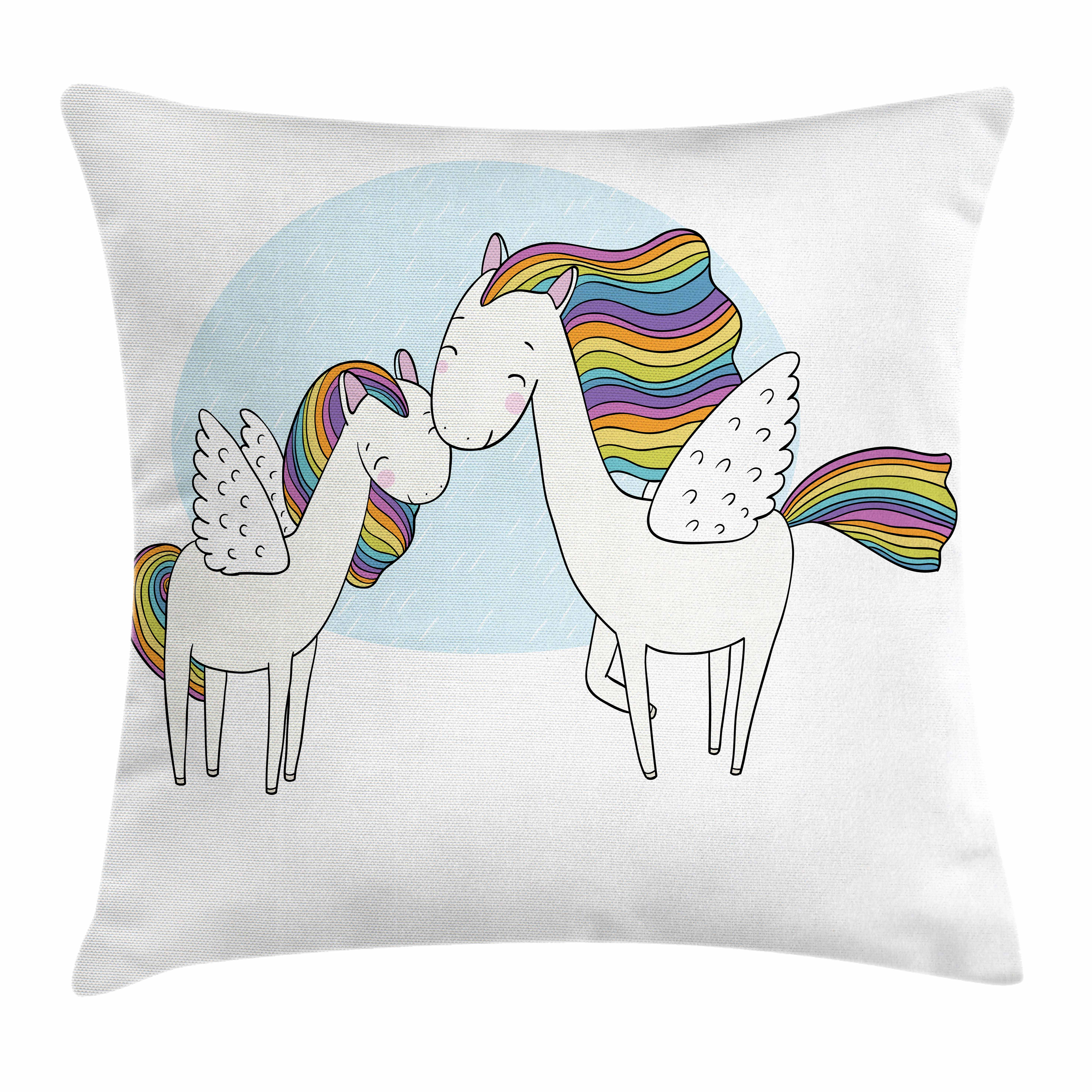 Unicorn Throw Pillow Cushion Cover, Pegasus Horses with Manes in Rainbow Colors and Wings Sweet Mythological Kids Tale, Decorative Square Accent Pillow Case, 18 X 18 Inches, Multicolor, by Ambesonne