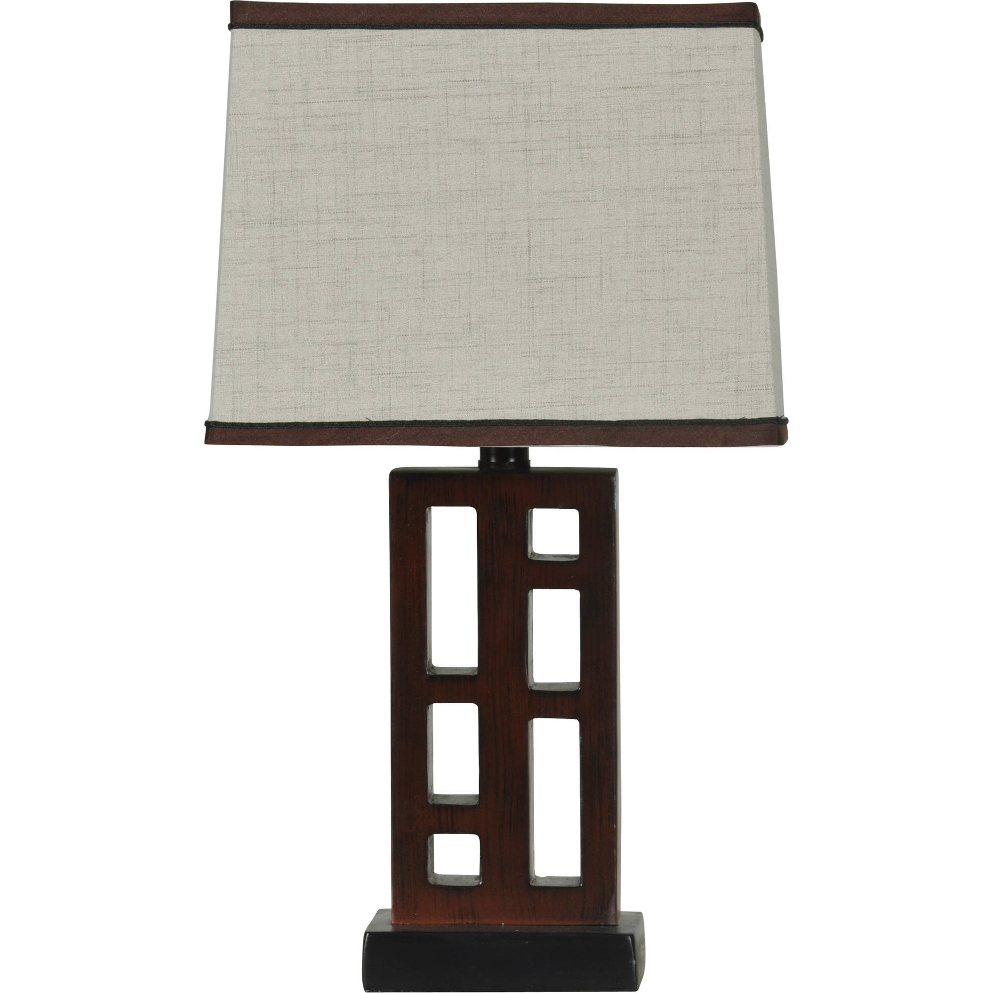 Click here to buy Better Homes and Gardens Open Works Lamp with Shade, Walnut by Stylecraft.