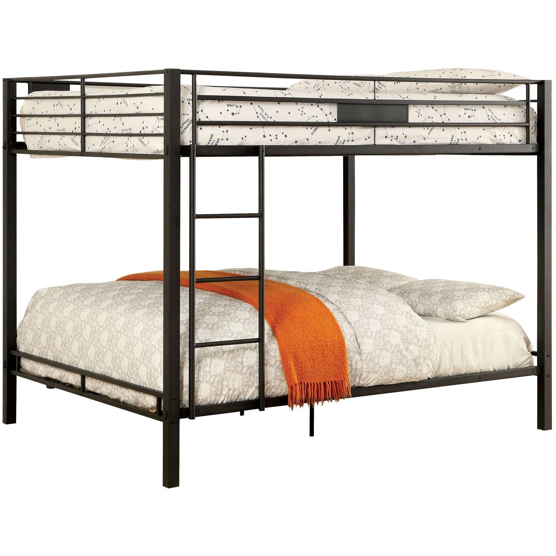 Furniture Of America Clarence Queen Over Queen Metal Bunk Bed Black Walmart Com Walmart Com