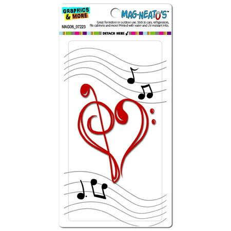 Music Heart - Love Treble Bass Clef Notes Staff - White MAG-NEATO'S(TM) Car/Refrigerator -