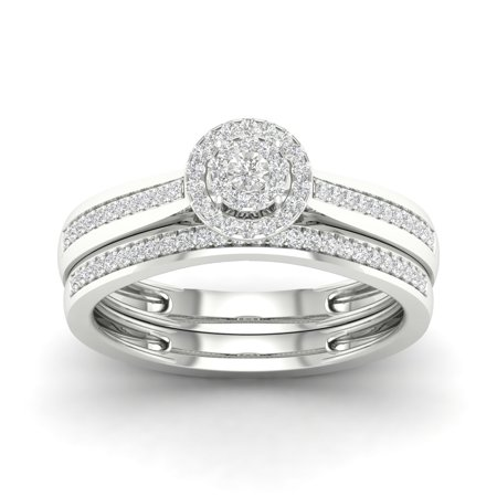 1/5Ct TDW Diamond S925 Sterling Silver Cluster Halo Bridal Set (I-J, - Bridal Catalogs
