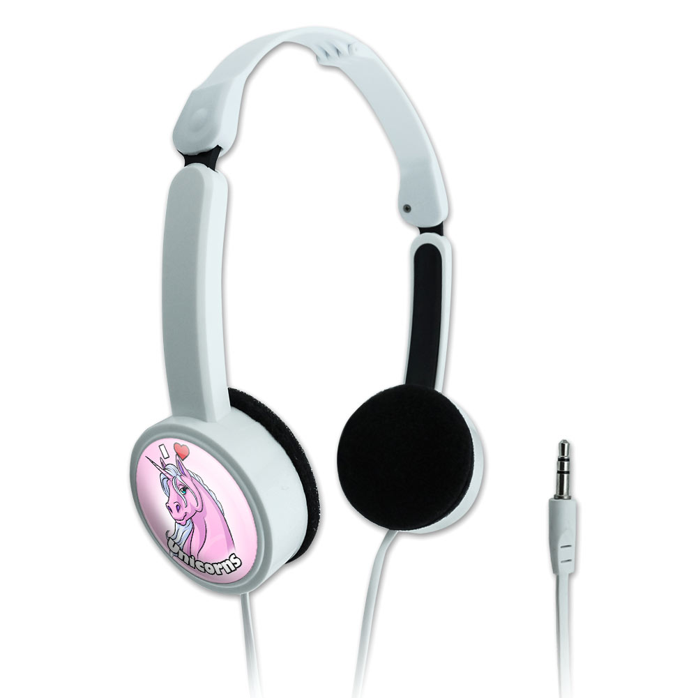 I Love Heart Unicorns Pink Novelty Travel Portable On-Ear Foldable Headphones