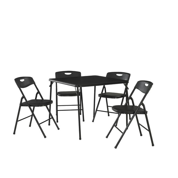 5 Piece Folding Table and Chair Set Steel Frame Black