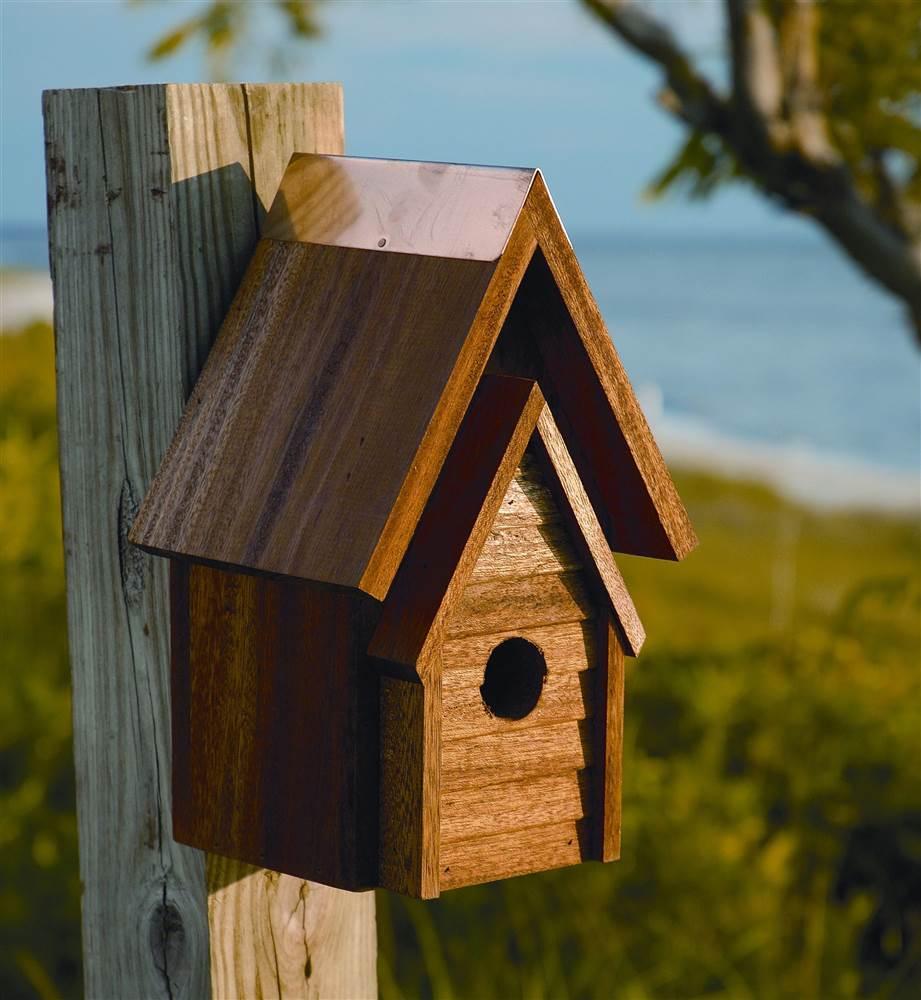 Wrental House Bird House in Mahogany