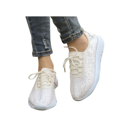 Women Sequin Glitter Sneakers Tennis Lightweight Comfort Walking Athletic Shoes (Women Tennis Clothes)