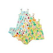 Wonder Nation Baby Girl Summer Dress & Diaper Cover, 3-Pack