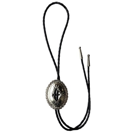Beaded Silver Bolo Tie (Concho Bolo Tie - Silver)
