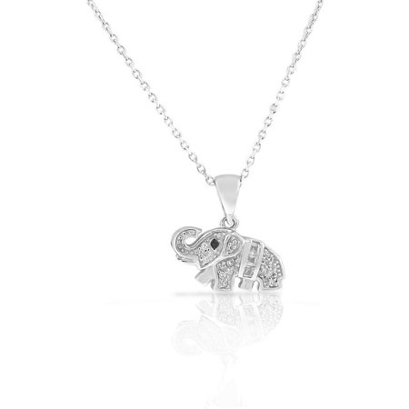 - 925 Sterling Silver White CZ Womens Girls Elephant Small Pendant Necklace
