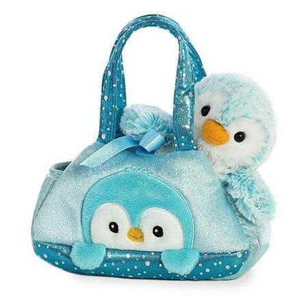 Aurora World Fancy Pals Pom Pom Blue Teal Penguin Carrier Purse, 7