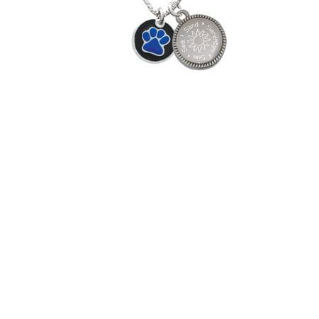Silvertone Navy Blue Paw on Black Disc Sun Sea Sand Serenity Engraved Necklace (Navy Blue Sand)