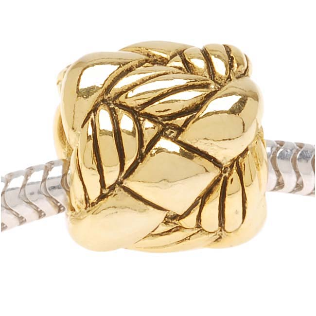 Antiqued 22K Gold Plated Woven Rope Bead - European Style Large Hole (1)