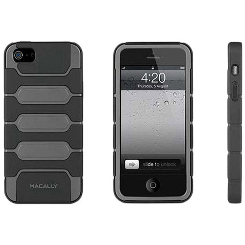 MACALLY TANK5G iPhone(R) 5/5S Protective Holster Case with Belt Clip/Stand (Gray/Black)