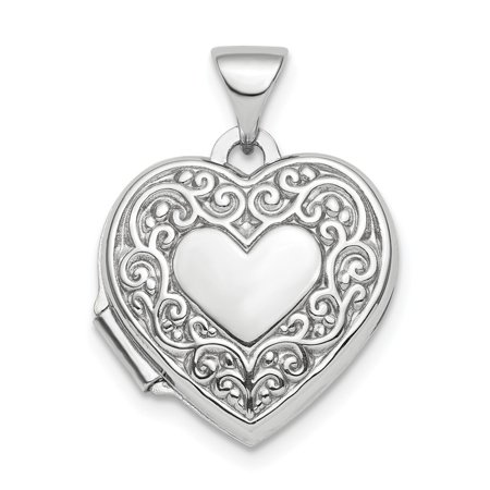 Mia Diamonds 925 Sterling Silver Rhodium-Plated Scroll Design Front and Back 15mm Heart - Scroll Back Design