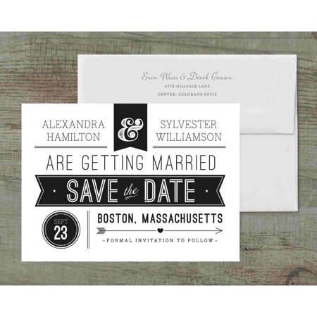 Retro Banner Deluxe Save the Date (Diy Save The Date Magnets)