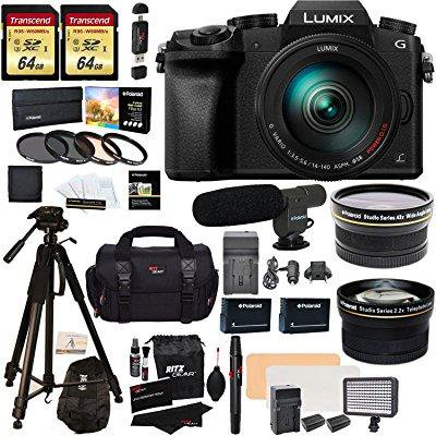 panasonic dmc-g7hk digital single lens mirrorless camera 14-140 mm lens kit, 4k + 2 transcend 64 gb + led kit + polaroid 72 tripod + microphone + polaroid wide angle + 2.2x hd telephoto lenses + more
