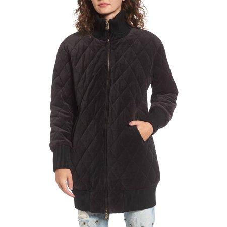 JUICY COUTURE Black Label Women's Velour Quilted Coat, Pitch Black Womens Famous Label