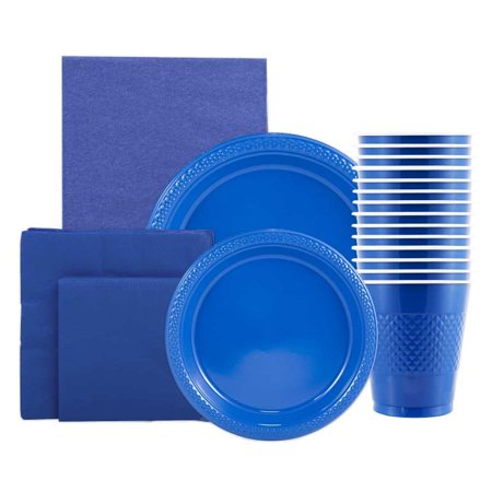 Paper Napkins Plates - JAM Paper Party Supply Assortment Pack - Blue - Plates (2 Sizes), Napkins (2 Sizes), Cups (1 pack) & Tablecloth (1 pack) - 6/pack