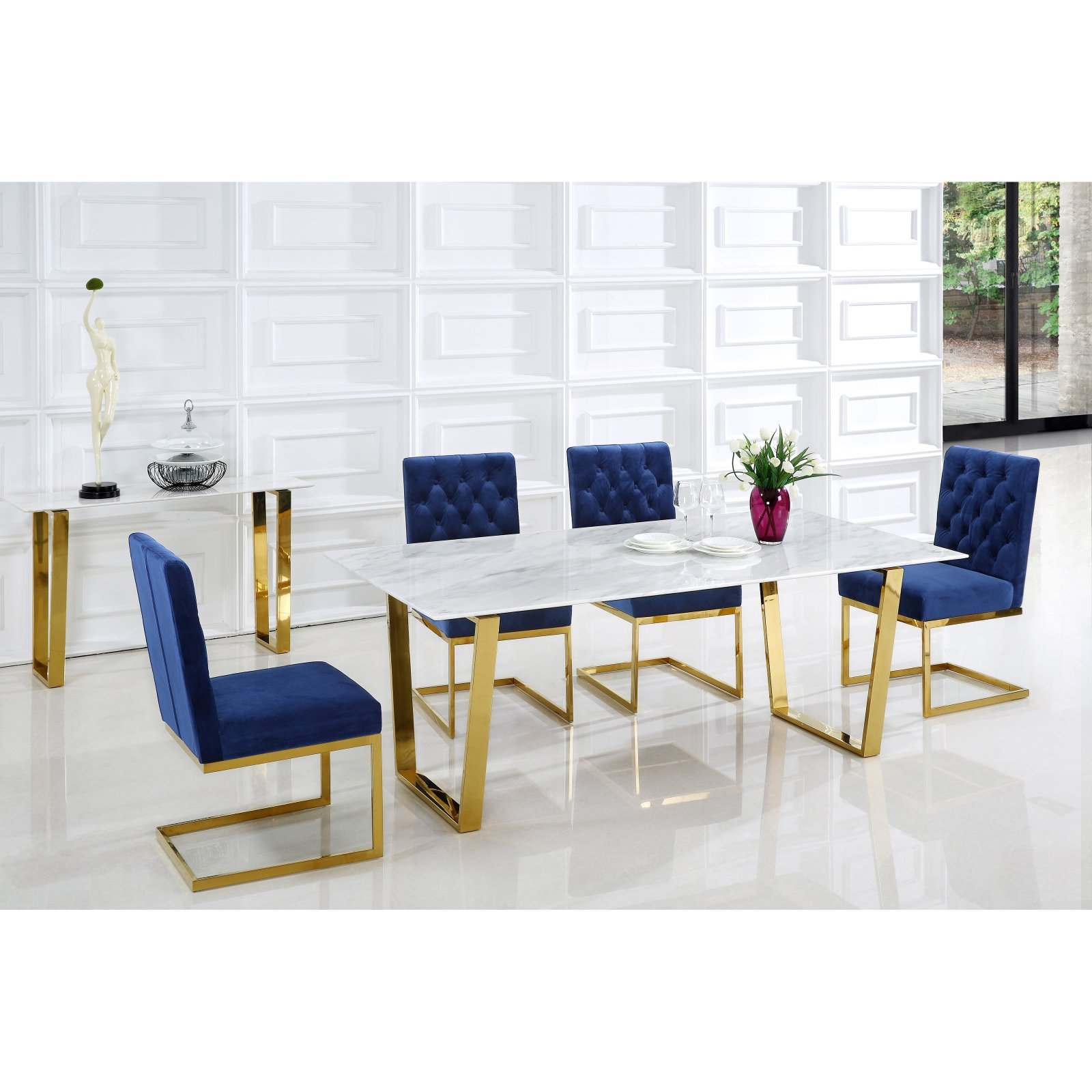 Meridian Furniture Inc Cameron Gold Dining Table