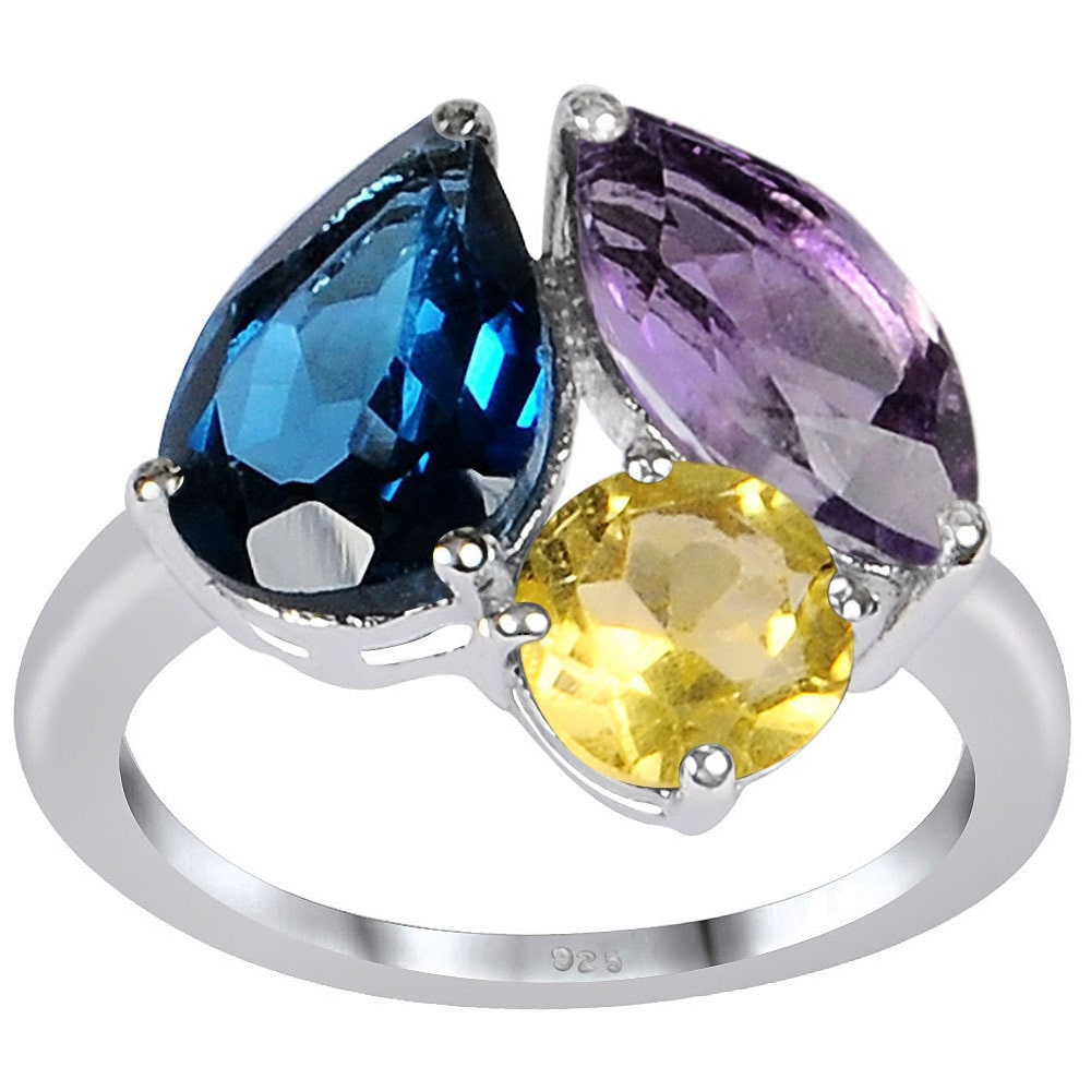 Orchid Jewelry Mfg Inc Orchid Jewelry 925 Sterling Silver 6 1/3ct. TGW Blue Topaz, Amethyst and Citrine Gemstone 3-stone Ring