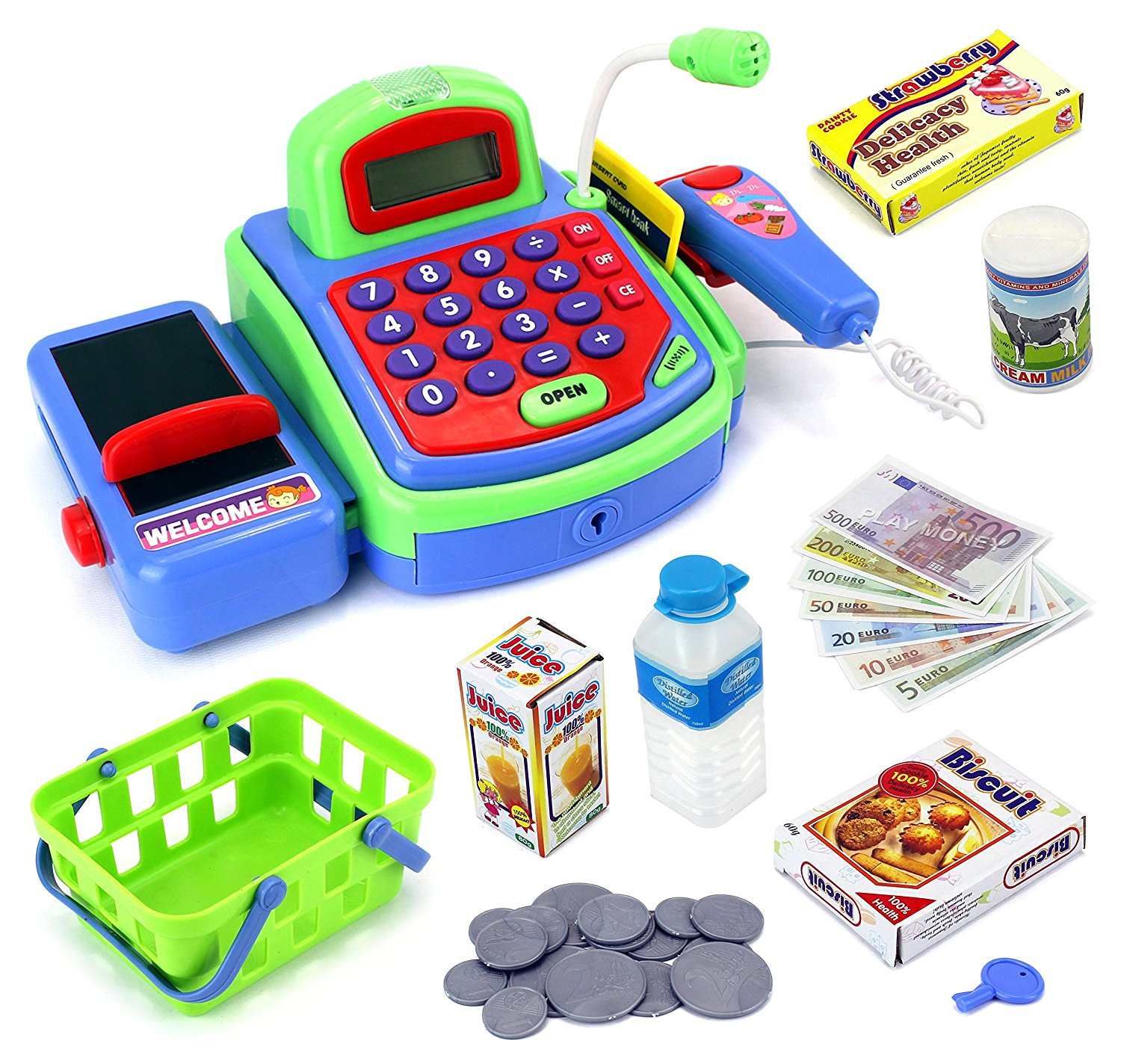 Imagine Multi-functional Educational Pretend Play Battery Operated Toy Cash Register w/ Working Calculator and Microphone, Scanner, Money and Credit Card, Groceries (Green)