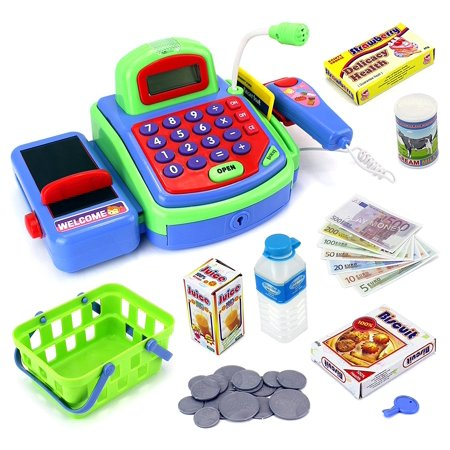 Imagine Multi Functional Educational Pretend Play Battery Operated Toy Cash Register W  Working Calculator And Microphone  Scanner  Money And Credit Card  Groceries  Green