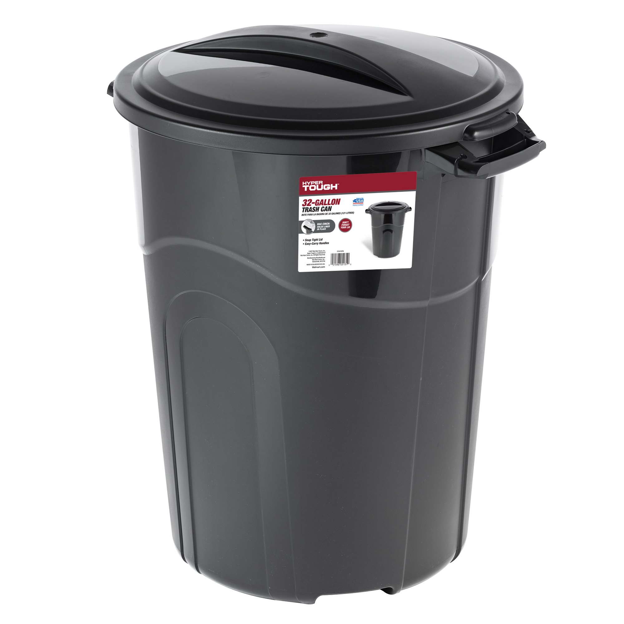 Hyper Tough 32 Gallon Injection Molded Trash Can - Black