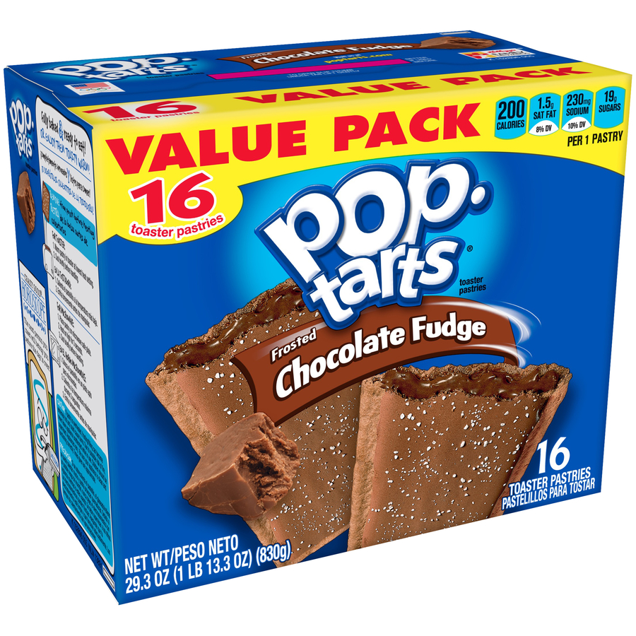 Kellogg's Pop-Tarts Breakfast Toaster Pastries, Frosted Chocolate Fudge, Value Pack, 29.3 oz 16 Ct