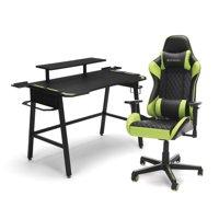 RESPAWN Gaming Chair (RSP-100) and Gaming Desk (RSP-1010) Bundle, eSports Gaming Battlestation, White/Gray