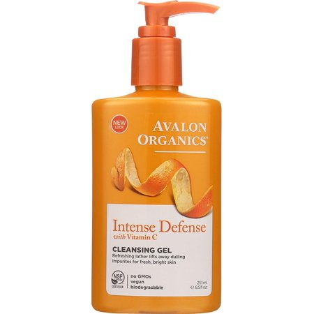 Organics Peppermint Cleanser - Avalon Organics Intense Defense with Vitamin C Cleansing Gel, 8.5 Fl Oz