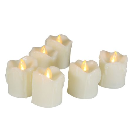 EcoGecko Indoor Outdoor 6 Piece LED Flameless Votive Candles Battery Operated with Timer - with wax melt looking Drips - Battery Operated Votives