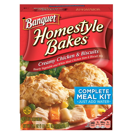 (2 Pack) Banquet Homestyle Bakes Creamy Chicken and Biscuits Meal Kit, 28.1 Ounce (Halloween Dinner Ideas Chicken)