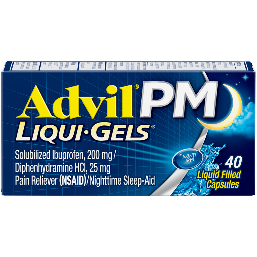 Advil PM (40 Count) Pain Reliever / Nighttime Sleep Aid Liquid Filled Capsule, 200mg Ibuprofen, 38mg Diphenhydramine