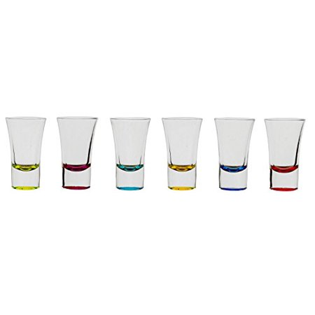Palais Glassware Verre à Liqueur Elegent Heavy Base Shot Glass Set, 1.5 Ounce - Set of 6 (Bottom Sprayed Lime/Fuschia/Aqua/Yellow/Blue/Red)
