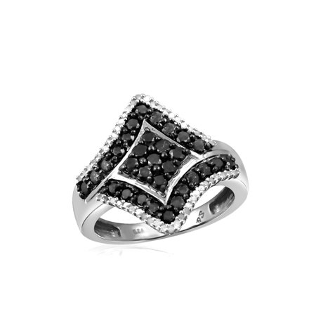 (JewelersClub 1.00 CTW Round cut Black & White Diamond Kite Shape Sterling Silver Ring)