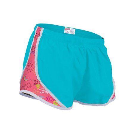 Side Mesh Insert - Girls Shorts with Printed Mesh Side Inserts, Light Turquoise & Love Ya - Medium
