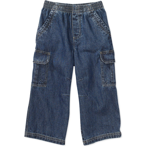 These cotton-twill jogger-style cargo pants for boys carry a ton of built-in comfort. Pants have an easy-on adjustable knit waistband, darts and seams at the knees, and a warm, soft jersey-knit lining. Six pockets offer plenty of places to store his stuff. Washed for softness. Pull-on style. Relaxed fit. Adjustable waistband with functional drawstring.