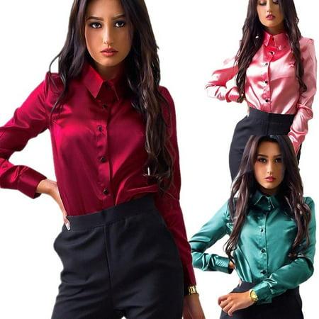 Womens Italian Silk - Women Silk Satin Blouse Lapel Long Sleeve Shirts Ladies Office Elegant Female Solid Color Top