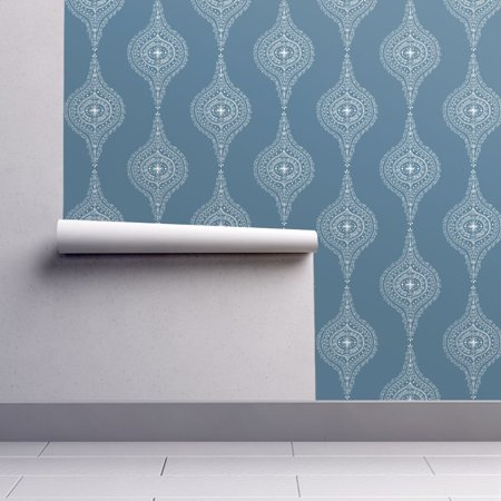 Wallpaper Roll Or Sample Dusty Blue Gray White Moroccan