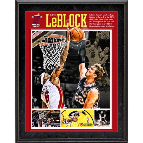 NBA - LeBron James Sublimated 10x13 Plaque | Details: Miami Heat, 2013 NBA Finals, The Block