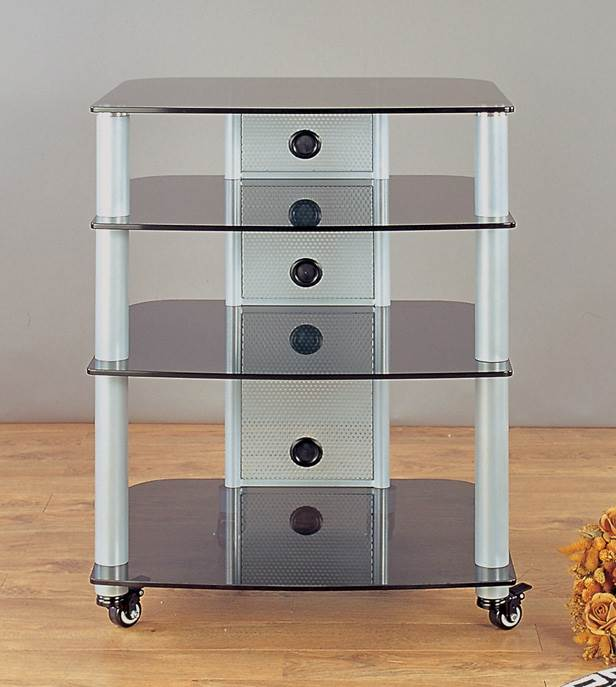 NGR Series Audio Video Rack in Silver w Black Glass Shelves