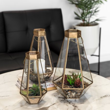 Best Choice Products Set of 3 Indoor Outdoor Decorative Metal Faceted Hurricane Candle Lanterns w/ Clear Glass, Mirrored Base - Brass