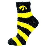Iowa Hawkeye Striped Fuzzy Sock