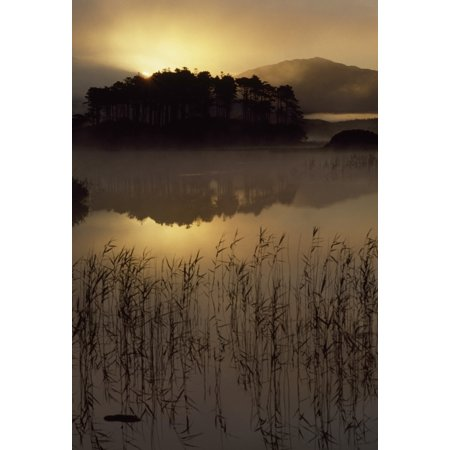 Lough Derryclare Co Galway Ireland Sunset Casting Reflections On Lake PosterPrint