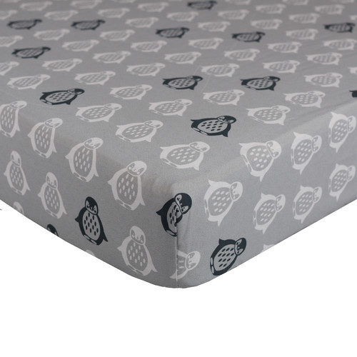 Lolli Living Grey Penguin Fitted Sheet