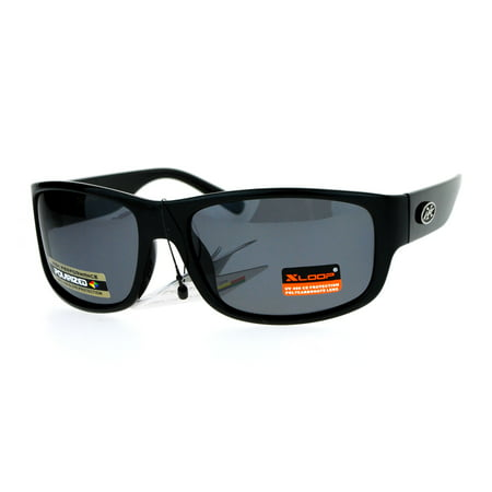 Xloop Polarized Lens Warp Rectangular Biker Style Mens Fishing Sunglasses All Black