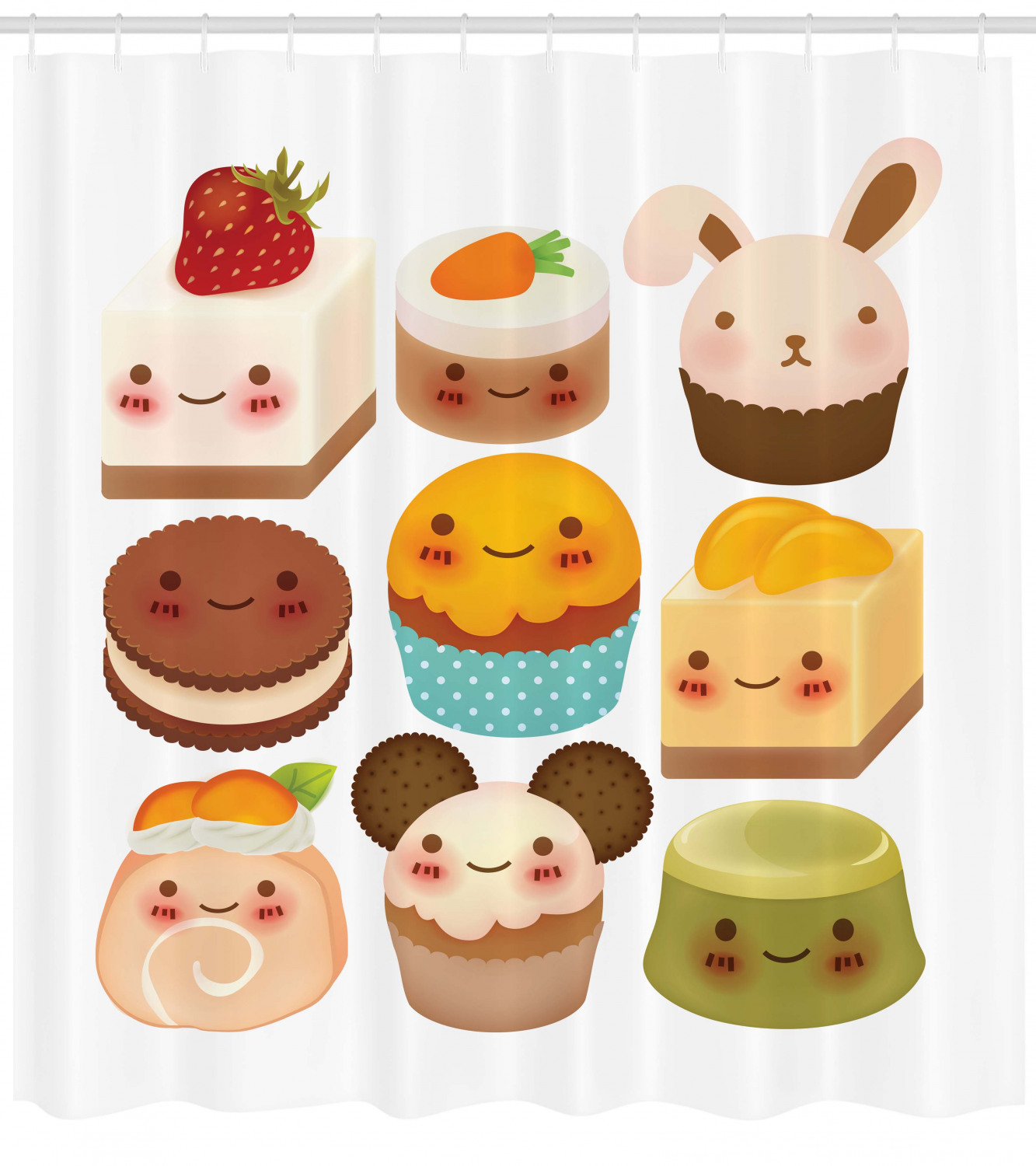 Cookie Shower Curtain, Chubby Kawaii Baked Goods with ...