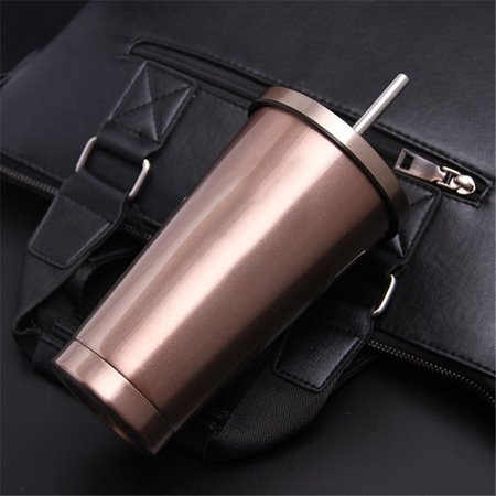 Stainless Steel Leak Proof  Vacuum  with Lids And Straws Travel Coffee Mug  Drink Cup 500ml Rose gold
