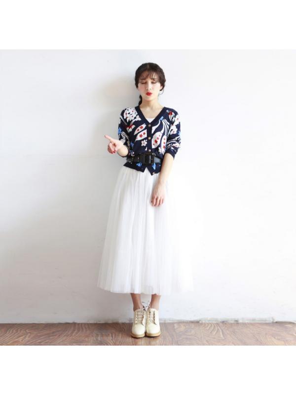 Lavaport Casual Women High Waist Long Mesh Dress Skirts