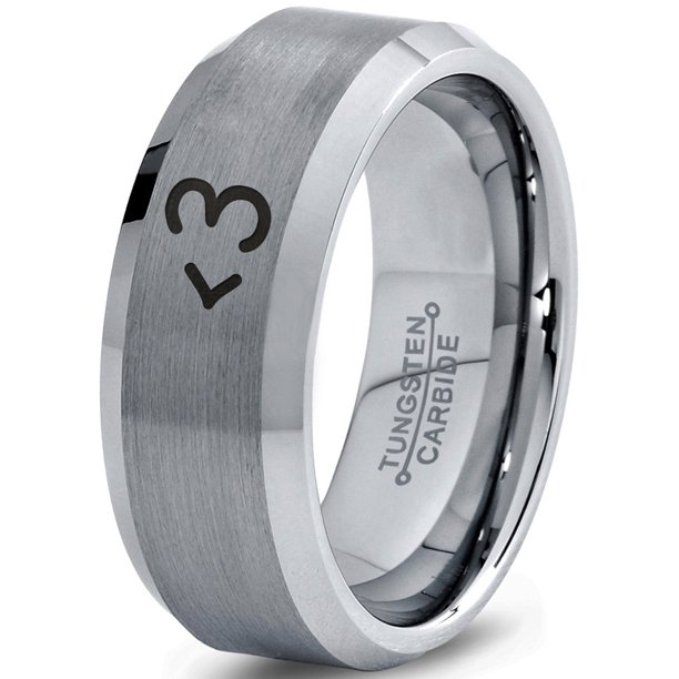 Tungsten Heart Text Symbol Love Band Ring 8mm Men Women Comfort Fit Gray Step Bevel Edge Brushed Polished