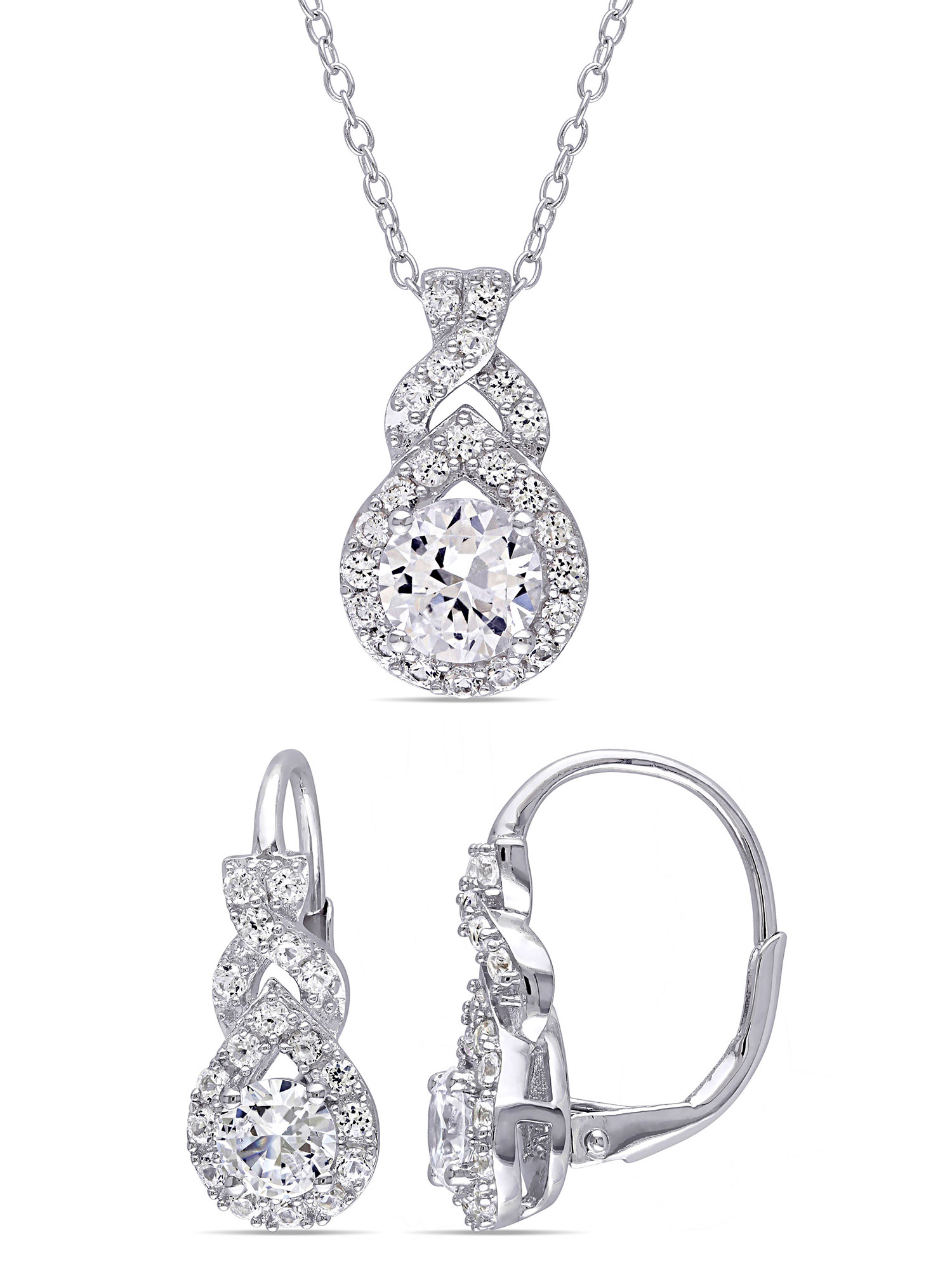 """Miabella 3-4/5 Carat T.G.W. Created White Sapphire Sterling Silver Infinity Earrings and Pendant 2-Piece Set, 18"""""""